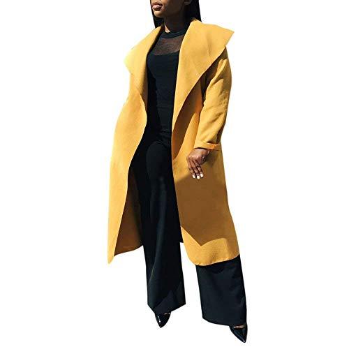 Chaqueta Gelb Invierno Otoño Hipster Color Retro Gabardina Larga Outwear Manga De Sólido Mujer Largos Solapa Elegantes Anchas Casual Abrigo 4qIUTxw