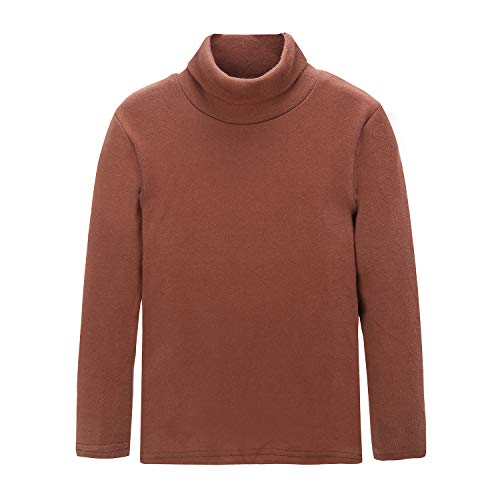 CUNYI Little Boys Girls Turtleneck Long Sleeve Cotton T-Shirts Solid Color Tops, Coffee, 6-7 Years ()