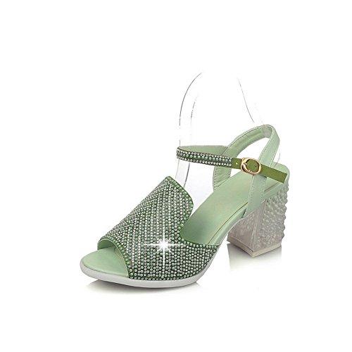 Buckle Green Heels Womens Toe High Sandals Solid Peep AmoonyFashion qd8ITxd