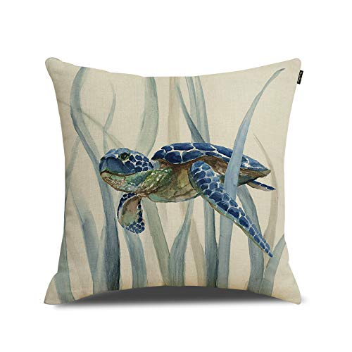 RUOAR Turtle Pillow Cover Ocean Theme Cotton Linen Theme Decorative Pillow Cover Case 18