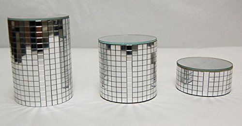 Set of 3 Small Chrome Mirror Pedestals by Crystal Delight by Mascot