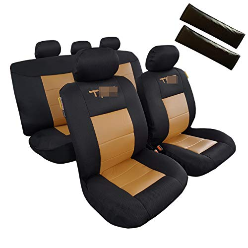 (ITAILORMAKER Leather Seat Covers for Cars Trucks SUV, Black/Tan Mesh Faux Leather, Universal Easy Fits Airbag Compatible and Split Bench)