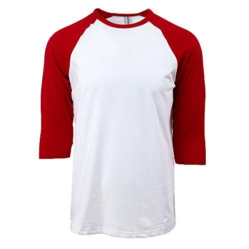 - Rich Cotton Raglan T-Shirts (L, White/Red)