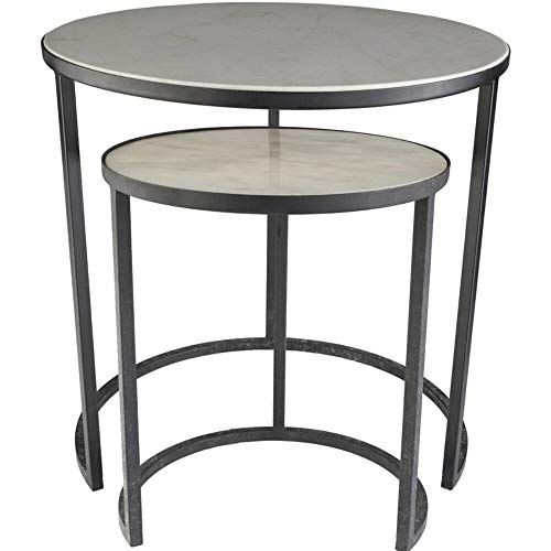 Latitude Run 2 Piece Genuine Marble Top Nesting Tables with Charcoal Iron Base + Free Basic Design Concepts Expert Guide from Latitude Run