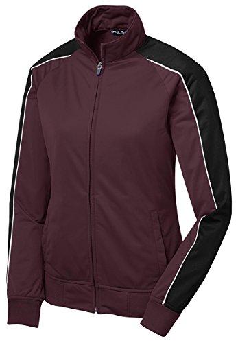 Sport-Tek Ladies Piped Tricot Track Jacket, 4XL, Maroon/ Black/ White (Cashmere Jacket Track)