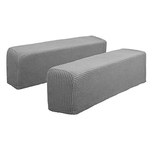 Hanhao Armrest Cover Ultra Soft Spandex Stretch Arm Cover for Recliners Sofas Chairs Loveseats Elastic Anti Slip Furniture Armrest Protector for Leather and Fabric Couch Set of 2 (Light Grey) (Sofa Grey And Chair)
