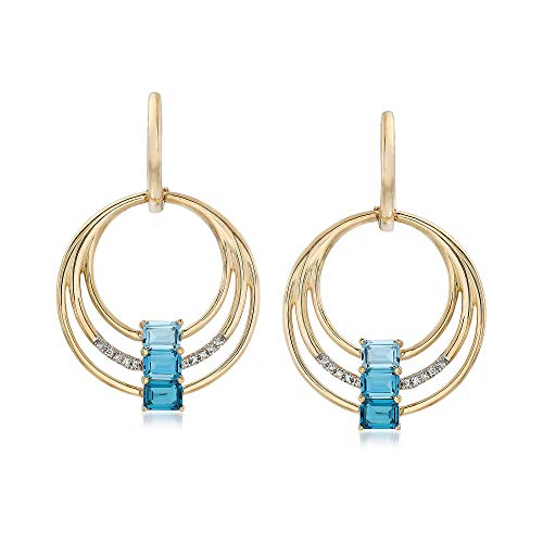 Ross-Simons 1.70 ct. t.w. Blue Topaz Multi-Circle Drop Earrings in 14kt Yellow Gold With Diamond Accents