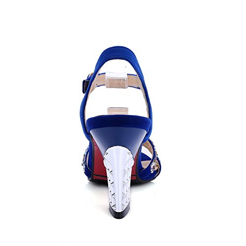 AmoonyFashion Womens High-Heels Frosted Solid Buckle Open-Toe Sandals Blue GgXu6
