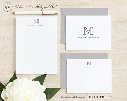 (OUTLINE MONOGRAM SET / 3 Piece Set/FOLDED + FLAT + PAD // Personalized Notecard and Notepad Stationery/Stationary Set)