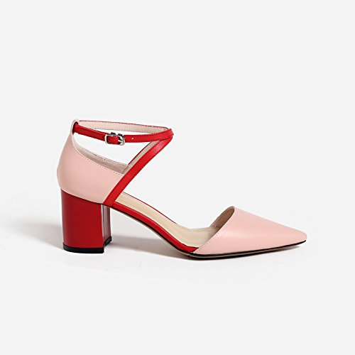 alla Scarpe rosa Alla Moda Da luce Sandali alti Donna versatile AJUNR e scanalato 34 punta chiaro 7cm tacchi I7YXqc