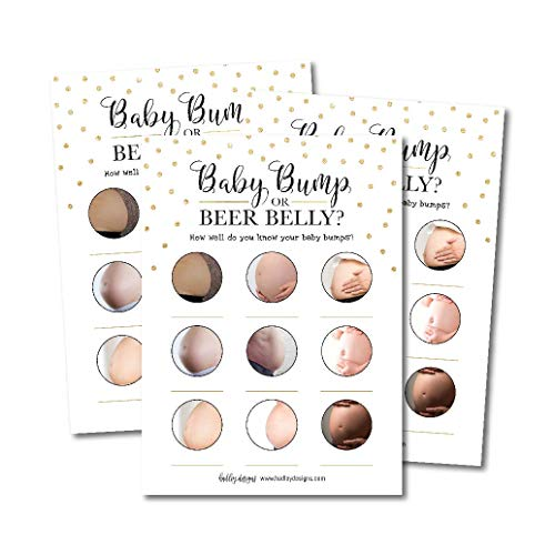 25 Beer Belly or Pregnant Bump Fun Baby Shower Game Idea For Girl or Boy Cute Gold Gender Neutral Party, Funny Activity Questions at Gender Reveal Bundle, For Kids, Mom, Dad, Women Men Coed Unisex Set by Hadley Designs