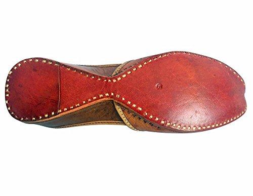 Schritt N Style Frauen Patiala (jutti Kameez ethnischen Schuhe Flach Sandalen/Hausschuhe Braun