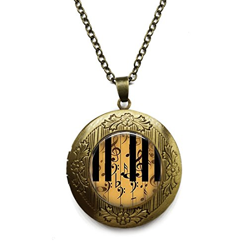 - Vintage Bronze Tone Locket Picture Pendant Necklace Vintage Inspired Piano Keys with Notes Pendant Included Free Brass Chain Gifts Personalized