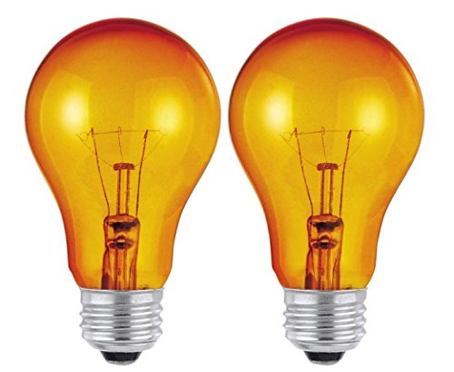 Dysmio Lighting 25 Watt, 120 Volt Trans Amber Incandescent A19 Light Bulb - 2500 Hours Orange, 2 Pack