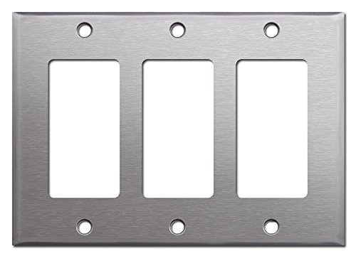 Brushed Satin Nickel Stainless Steel Wall Covers Switch Plates & Outlet Covers (Triple Rocker) - Brushed Nickel Triple Rocker