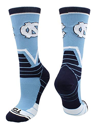 TCK Sports North Carolina Tar Heels Victory Crew Socks (Carolina Blue/Navy/White, Small)