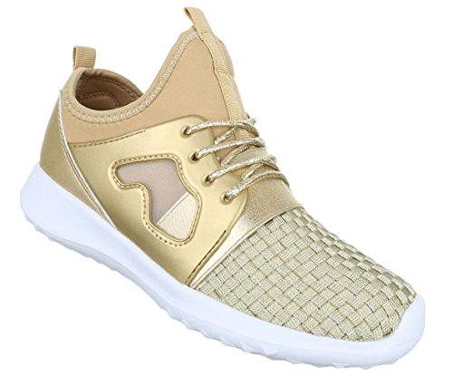Damen Freizeitschuhe Schuhe Runner Sportschuhe Sneakers Schwarz Gold Pink Silber 36 37 38 39 40 41