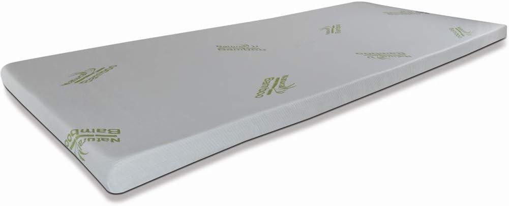 Bamboo TOPPER con tessuto antiacaro liscio H4cm in Visco Memory foam CORRETTORE per MATERASSO o Sovramaterasso king size 180x200