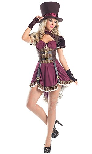 Be Wicked Women's 3 Piece Steam Punk Mad Hatter, Burgundy, Medium/Large (Sexy Mad Hatter Costumes)