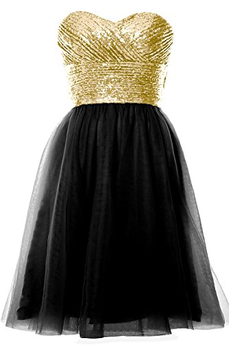 MACloth Women Strapless Cocktail Dress Sequin Short Wedding Party Formal Gown Light Gold-Black