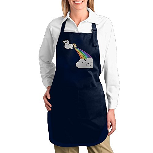 Dogquxio Cute Rainbow Horse Kitchen Helper Professional Bib Apron With 2 Pockets For Women Men Adults Navy