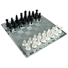 Avant-Garde Black and Frosted Glass Chess Set with Mirror Board