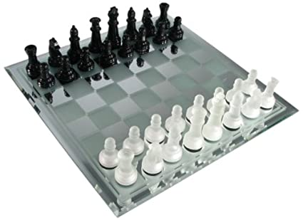 Avant-Garde Black Frosted Glass Chess Set with Mirror Board
