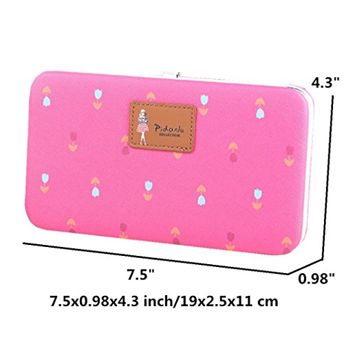 Hard Long Ladies Case iPhone for Phone Large Wallet Plus 8 Plus Pattern Flowers for Blue 7 Leather X Purse Wristlet 7 Clutch 8 zx800