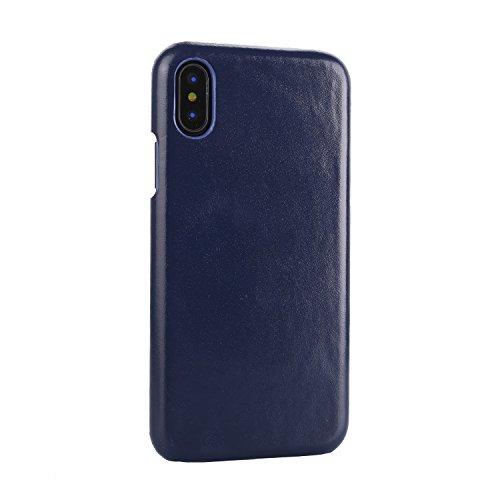 Funda Para Apple iPhone X, Sunrive Cuero genuino Funda Protectiva Carcasa Cuero Resistente Teléfono Funda (Azul) Azul