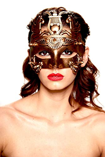 KII Roman Gladiator Spiked Masquerade Mask (Black/Gold; Unisex One Size) for $<!--$14.45-->