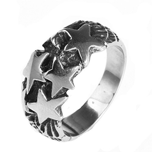 - MoAndy Fashion Ring Men Stainless Steel Vintage Retro Silver Stars Ring 6MM Size 12