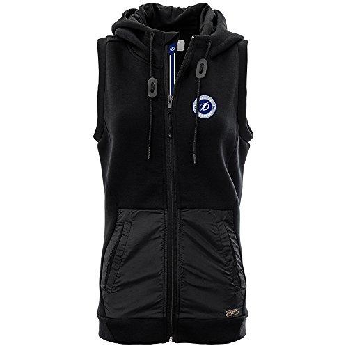 (Levelwear LEY9R NHL Tampa Bay Lightning Adult Women Iris Banner Stripe Full Zip Hooded Vest, Large, Black)