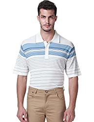 SSLR Men's Casual Three Button Striped Polo Shirt (Medium, White)