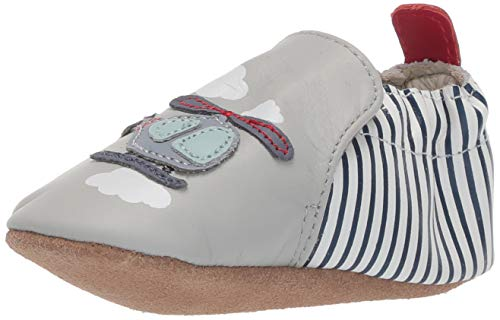 Robeez Boys' Soft Soles Crib Shoe, Light Grey, 12-18 Months M US Toddler