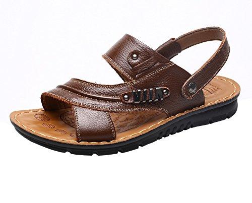 Vocni Heren Open Teen Casual Lederen Comfortschoenen Sandalen Lederen Sandalen Voor Heren Bruin