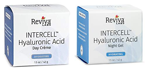 (Reviva Labs InterCell Day Cream and Night Gel Bundle with Shea Butter, Sunflower Seed Oil, Hyaluronic Acid and Sodium Hydroxide, 1.5 fl. oz. each)