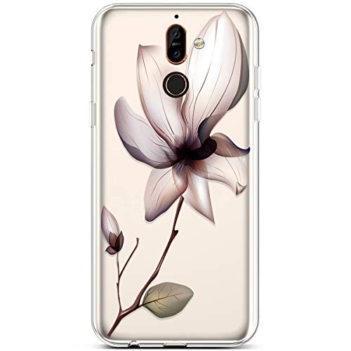 PHEZEN for Nokia 7 Plus Case,Clear Soft Flexible TPU Silicone Case Rubber  Skin with Art Painted Design Transparent Shockproof TPU Bumper Protective