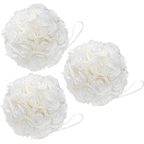 WYZworks Foam Flower (3 Pack) Kissing Ball Pomander IVORY...