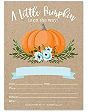 25 Pumpkin Blue Baby Shower Invitations, Sprinkle Invite for Boy, Coed Rustic Gender Reveal Theme, Cute Autumn Kraft Floral DIY Fill or Write in Blank Printable Card, Greenery Rose Party Supplies