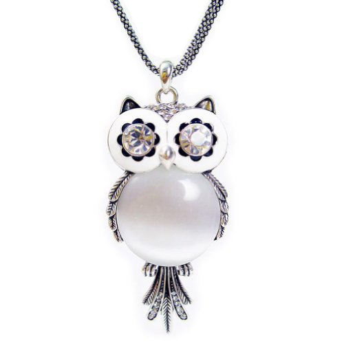 Chaomingzhen Austrian Crystal Vintage Owl Pendant Long Necklace for Women Fashion Jewelry