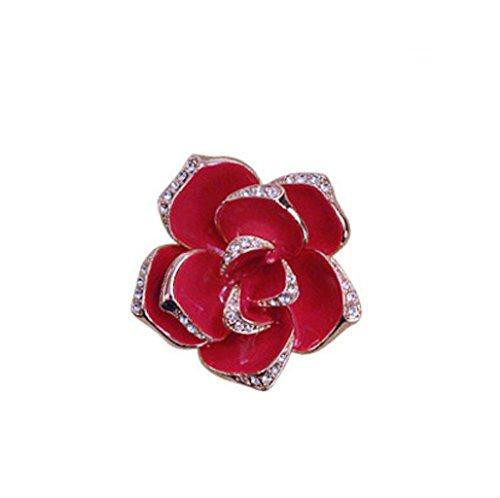 JBHURF Men's fashion brooch set ladies needle collar rose brooch Austrian crystal 18K rose gold gilded red rose brooch gift (Color : (18k Rose Brooch)