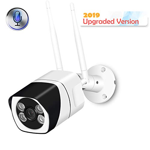 Outdoor WiFi Security Camera, 1080P Wireless IP Camera Two-Way Audio Motion Detection Remote Viewing FTP Onvif Night Vision IP66 Waterproof Bullet Surveillance Cam Support Max 128G SD Card(NO Card)