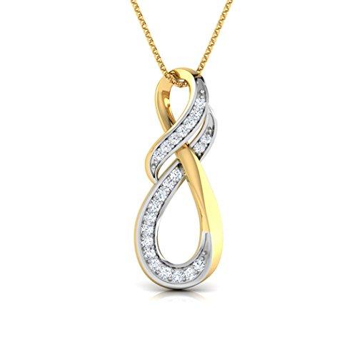 18K Or Blanc 0.09CT TW Round-cut-diamond (IJ | SI) Pendentif