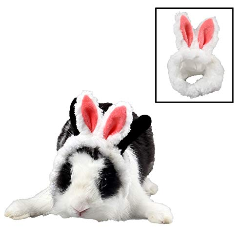 Stock Show Small Animal Cute Bunny Ear Costume Hat Warm Soft Plush Headwear Headband Party Birthday Halloween Xmas Head Dress Up Photo Props for Guinea Pig Bunny Hamster Puppy Kitten, Light Red