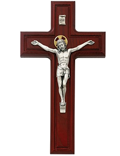 Cherry Wood Wall Crucifix Cross With Gold Color Accent Halo 10 Inch