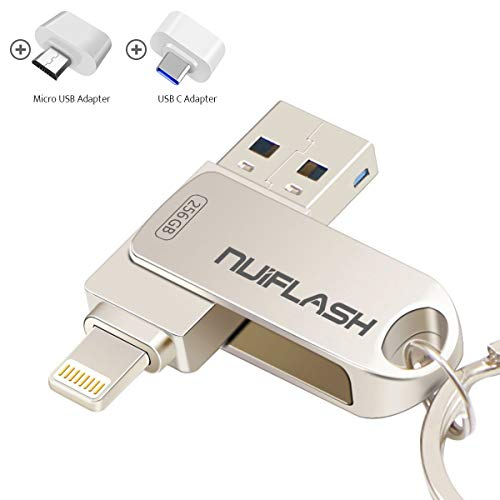 USB Flash Drive for iPhone 256GB Photo Stick Memory Stick USB 3.0 External Storage nuiflash Thumb Drive Compatiable with iPhone/iPad/Mac