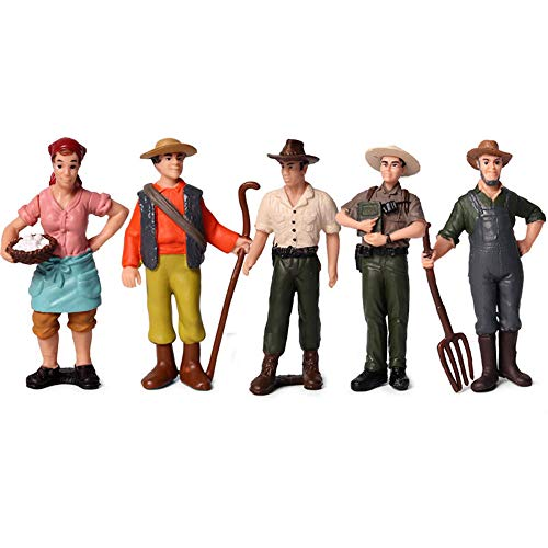 Action Figure Therapy Halloween (KEYUM 5 Pcs Action Figures Playsets People Model Figurines Toys Set Farm Theme Cake Topper Decoration Party Home Decor Birthday for Kids (Farmer Style)