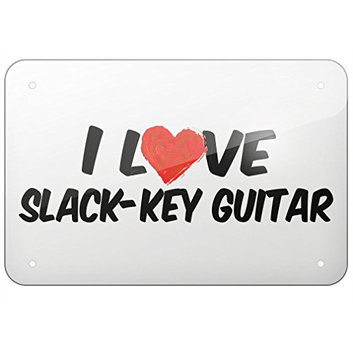 Rod Adams Metal Sign I Love Slack-key Guitar, Large ()