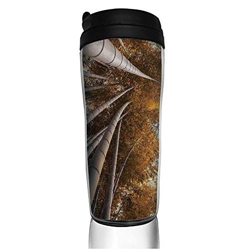 Grove Mug - Stainless Steel Insulated Coffee Travel Mug,Top Bamboo Grove Fall Landscape Potential,Spill Proof Flip Lid Insulated Coffee cup Keeps Hot or Cold 11.8oz(350 ml) Customizable printing