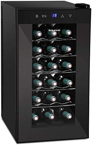 Taurus PTWC18 wijnkoeler 18 flessen 47 l verticale opslag temperatuur instelbaar tussen 12 en 18 C stil geen buigen van de handen antivocht LEDlicht binnen zwart